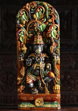 Painted Wood Dancing Ganesh Under Canopy 36