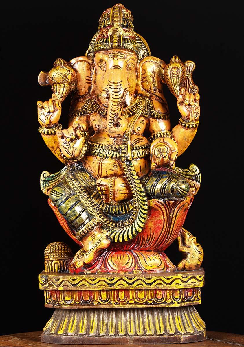 Sold painted wood ganesha carving quot w ba hindu