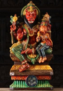 Painted Wood Narasimha Lakshmi Statue 30