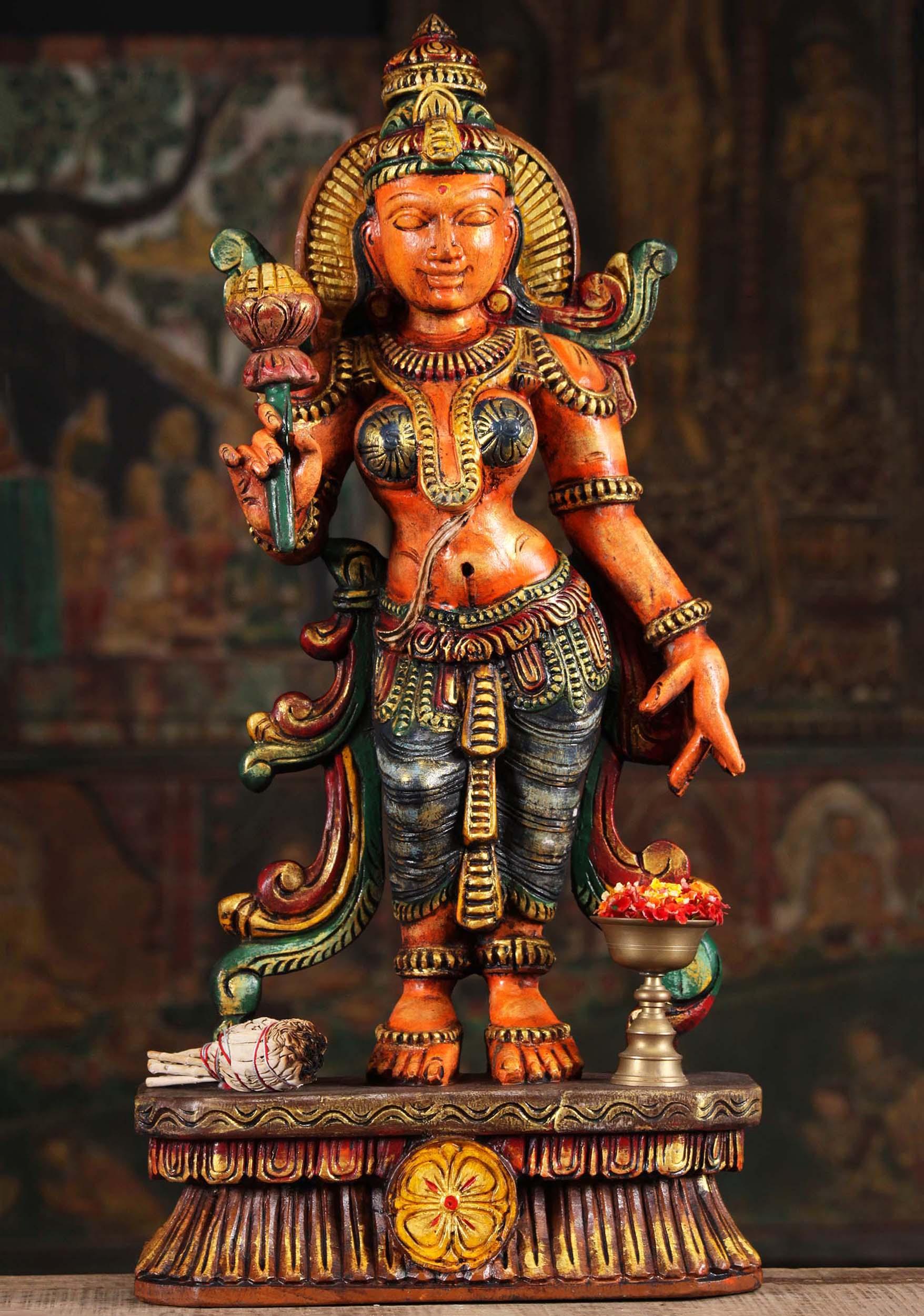 Wooden Parvati Statue Holding A Lotus 24 Quot 94w9al Hindu