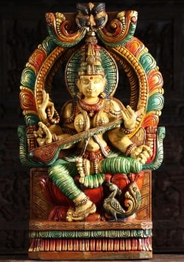 Wood Saraswati Statue with Mahakala Arch 36
