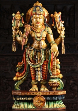 Wood Vishnu Statue Holding Large Club 36
