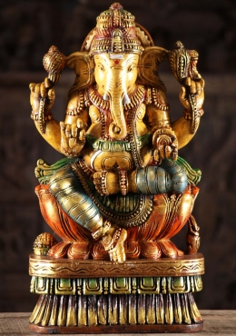 Painted Wooden Ganapathi Carving 18