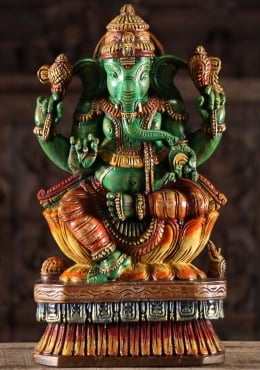 Painted Wooden Green Ganapathi Sculpture 18