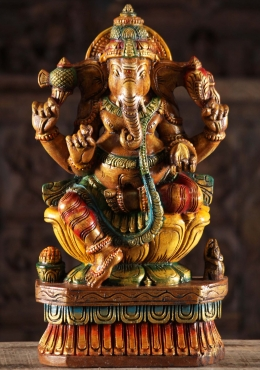 Painted Wood Ganapathi Statue Holding Mango 18