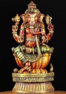 Painted Wooden Ganesh Statue 24