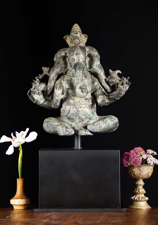 SOLD Brass Panchamuhkti 5 Faced Ganesh Statue 19