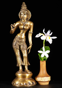 Brass Parvati as Shivakami Statue 10.5