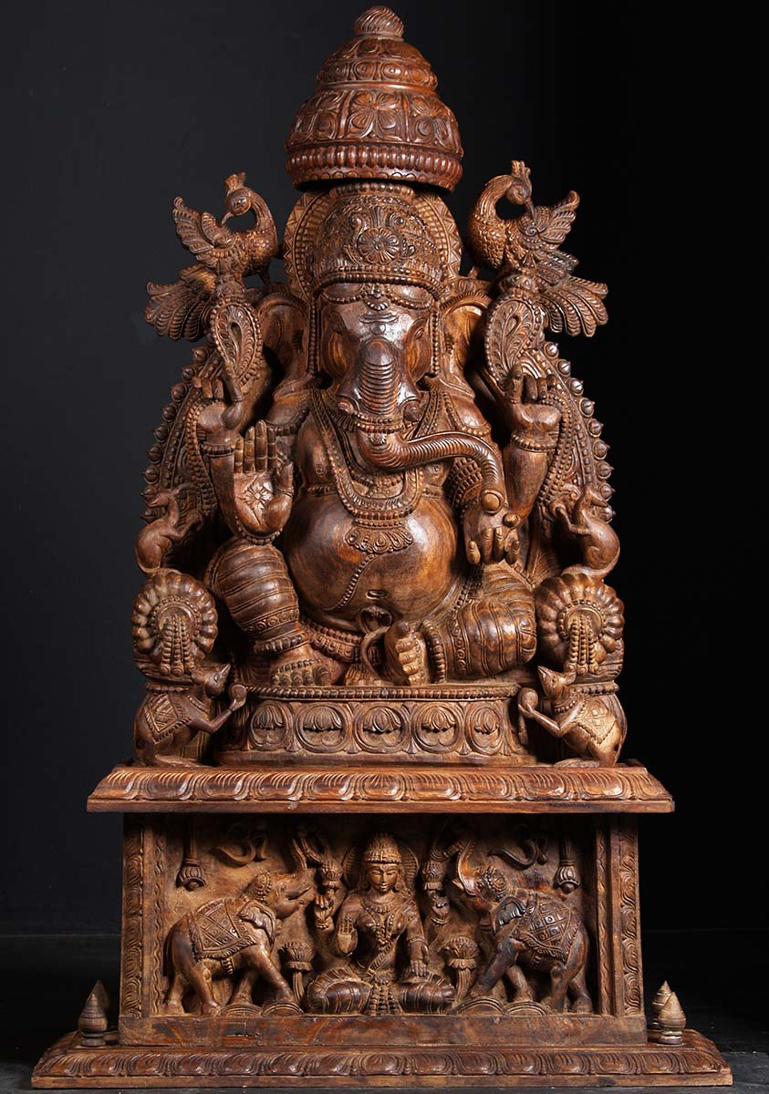 Sold Wooden Ganesh Statue With Gaja Lakshmi 50 Quot 76w18