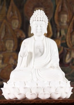 Porcelain Buddha Seated on 3 Tiered Lotus Base 15