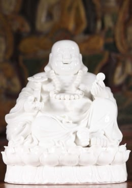 Porcelain Fat & Happy Buddha on Lotus Base 10