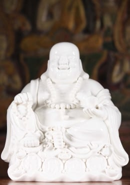 Porcelain Fat & Happy Buddha Seated With Gold 9