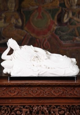 Porcelain Avalokiteshvara Laying on Lily Pads 4