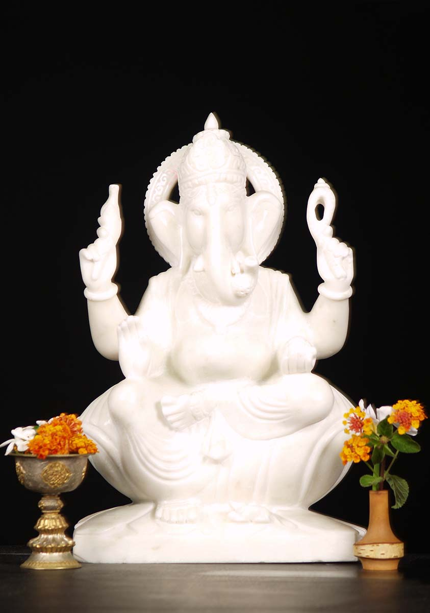 Sold Pure White Marble Ganesh Statue 18 Quot 71wm41e Hindu