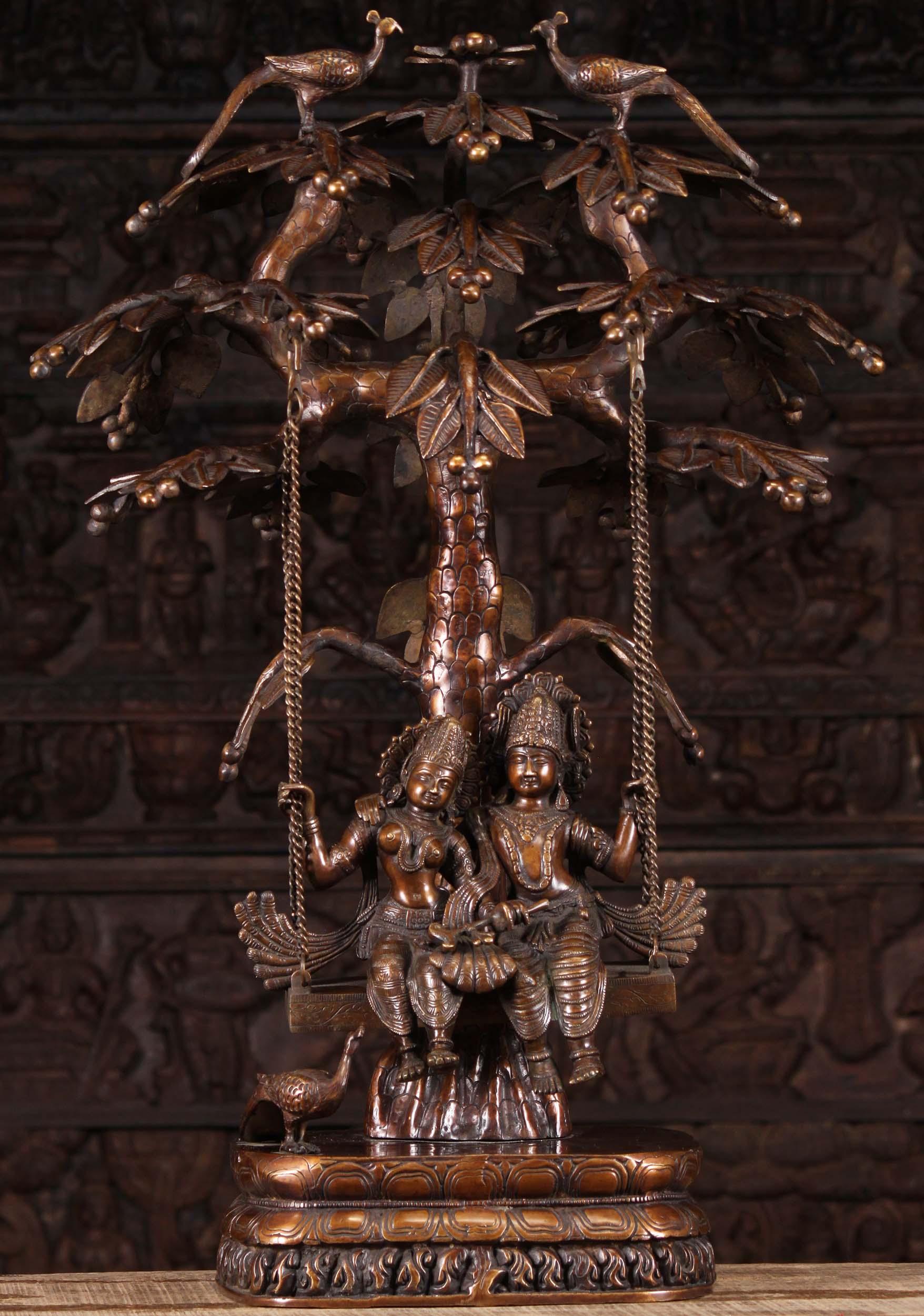 Brass Radha Krishna Statue On Tree Swing 34 Quot 89bs206b