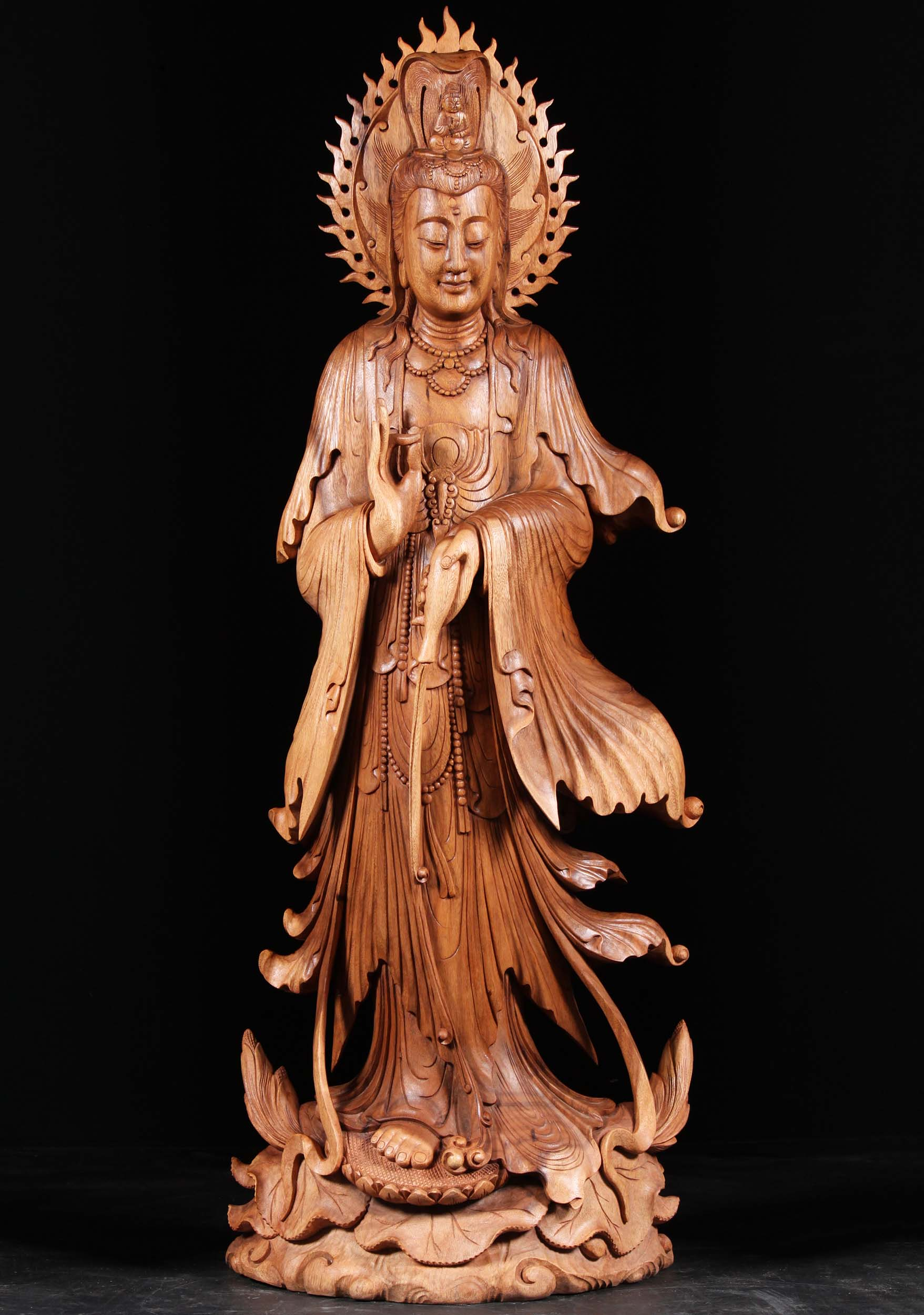 Large Kuan Yin Garden Statue Holding Willow Branch Designs