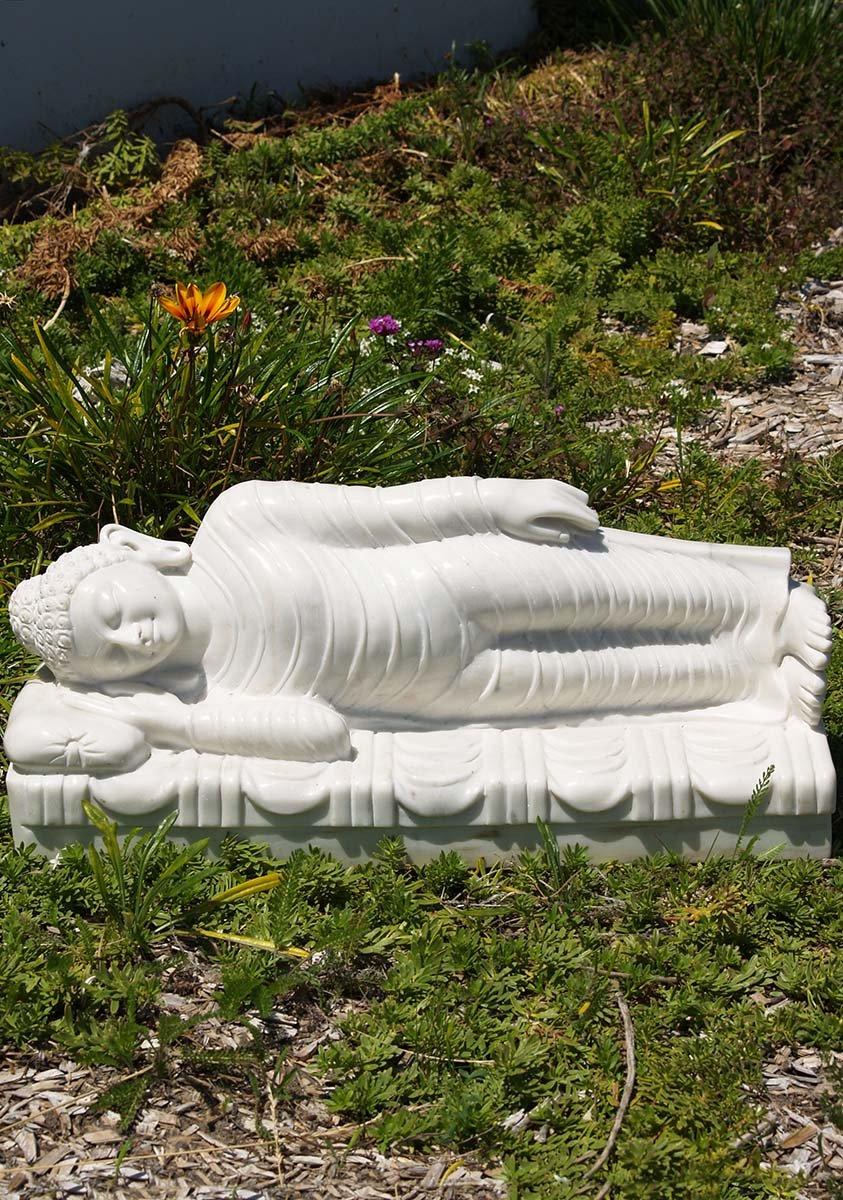 White Marble Reclining Buddha Statue 24 Quot 71wm76a Hindu