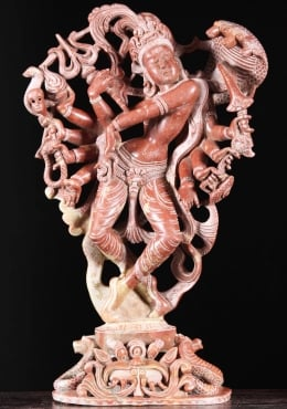 Red Marble Dancing Shiva Statue With 10 Arms 20