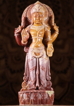 Red Marble Chandra Statue Hindu Moon God 16