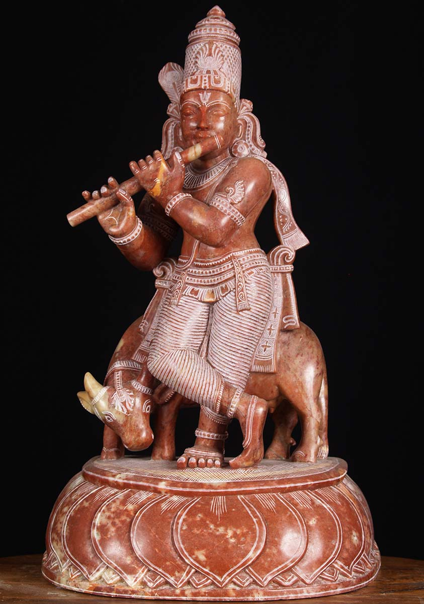 Sold Red Marble Krishna With Cow Statue 18 Quot 80rm4