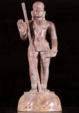 Red Marble Murugan Statue Holding Vel 15