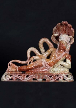 Red Marble Reclining Shiva Sculpture 18