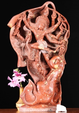 Red Marble Shiva Battling The Elephant Statue 14