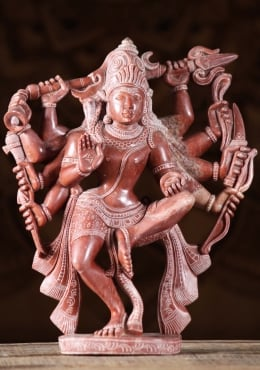 Red Marble Shiva Dancing With 10 Arms 11
