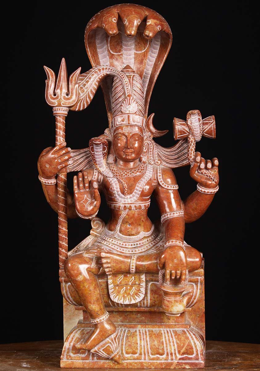 Sold Red Marble Shiva With Trident 16 Quot 80rm8 Hindu