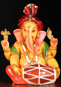 Fiber Musical Ganapathi Statue Playing the Tabla 12