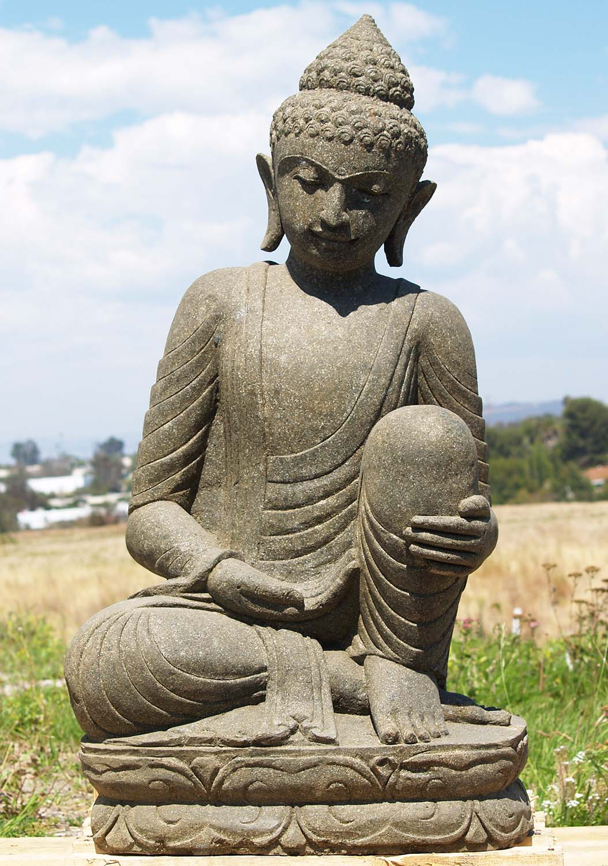 "Buddha Statues For The Garden: SOLD Stone Resting Garden Buddha Sculpture 40"" (#86ls191a"
