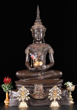 Brass Ayutthaya Buddha with Alms Bowl 24