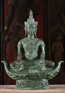 Brass Royal Thai Meditating Buddha Statue 21