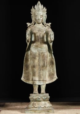 Royal Cambodian Buddha Statue With Crown 54