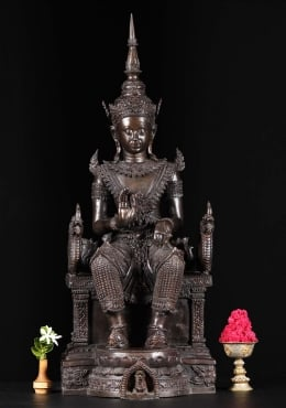 Thai Buddha Statue Seated On Dragon Throne 35