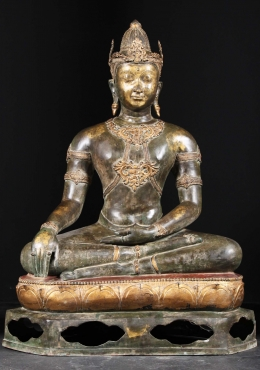 Brass Royal Earth Touching Thai Buddha 47