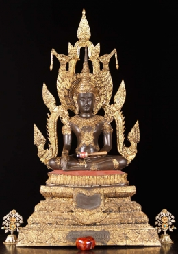 Brass Royal Thai Earth Touching Buddha Statue 36