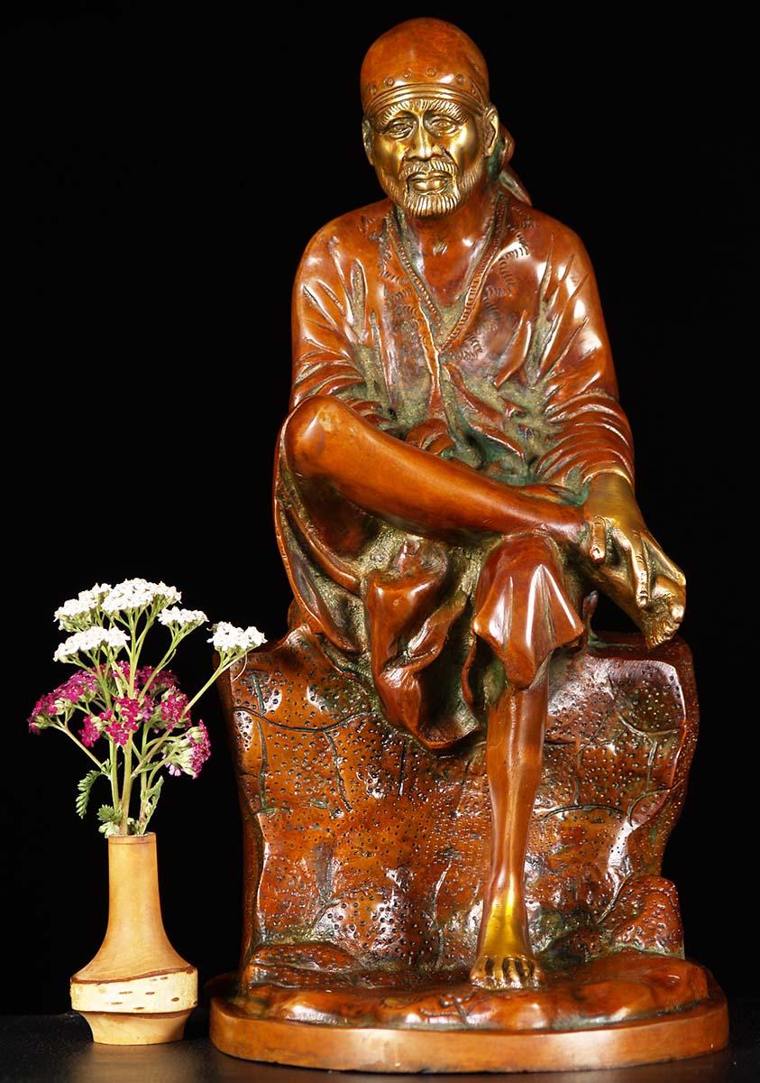 Sold Brass Sai Baba Of Shirdi Brass 18 Quot 61bs48zz Hindu