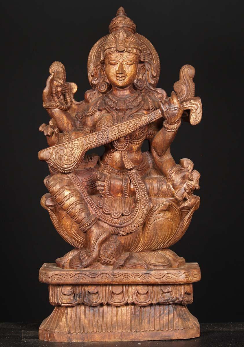 Sold wood saraswati playing veena carving quot w di