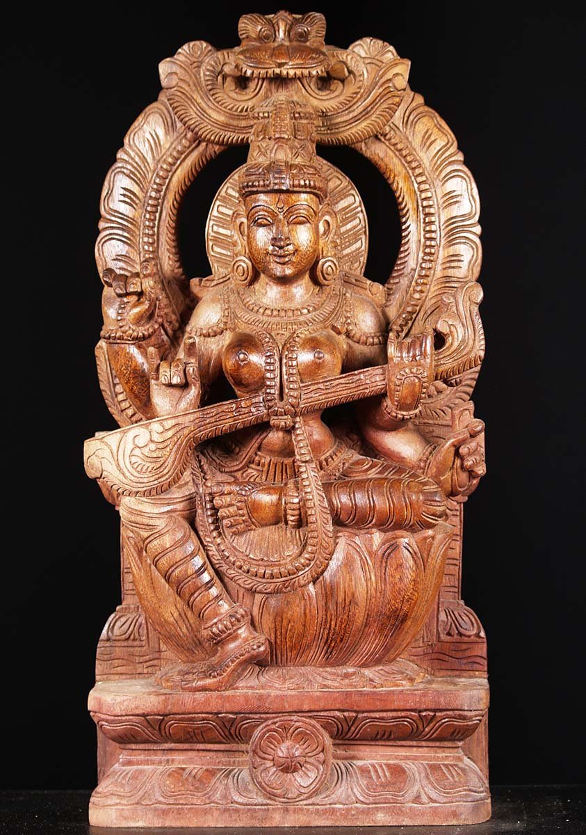 "What Is Freight Shipping >> Saraswati With Arch Wood Statue 24"" (#76w1fg): Hindu Gods & Buddha Statues"