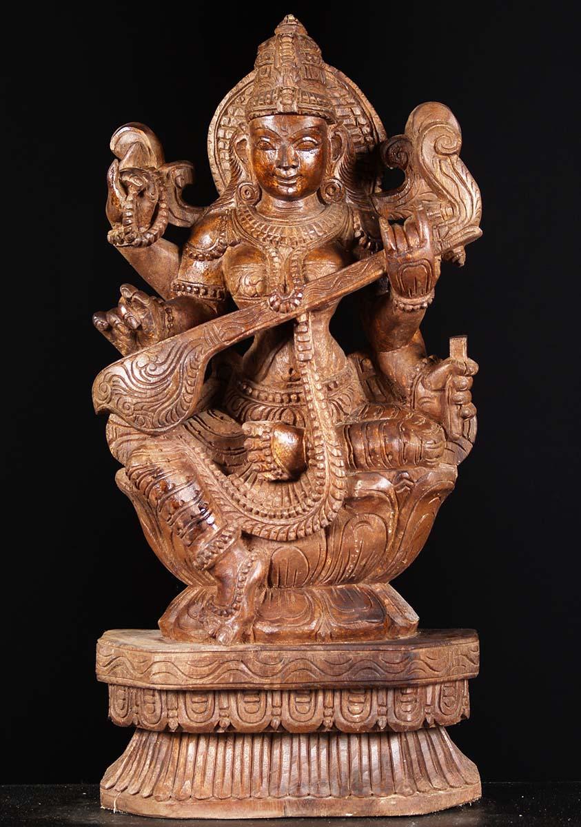 Sold Wooden Saraswati Statue Playing The Veena 24