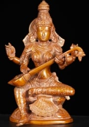 Brass Seated Saraswati Statue 8