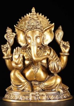 "STATUE des Messings Tag sitzen Abhaya Ganesh-Statue 12"""