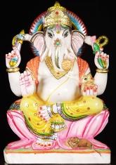 """Weißer Marmor sitzen Ganesh-Statue 23"""""""