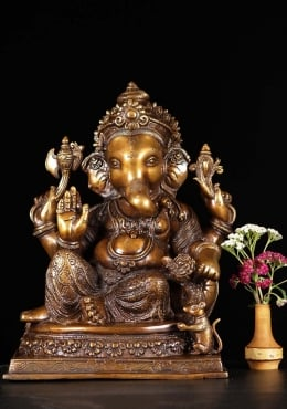 Brass Ganesh Statue with Rat 14