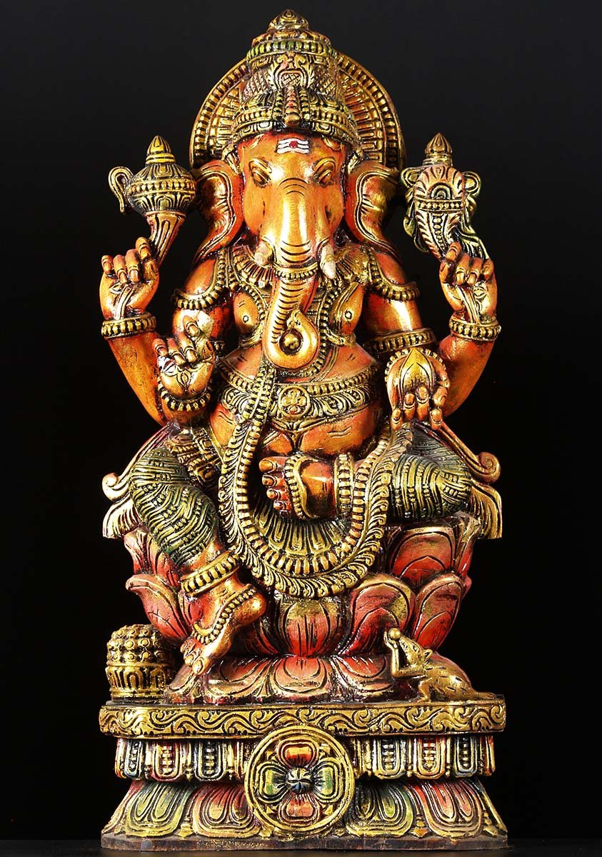 Sold seated ganesh wood carving quot w n hindu gods