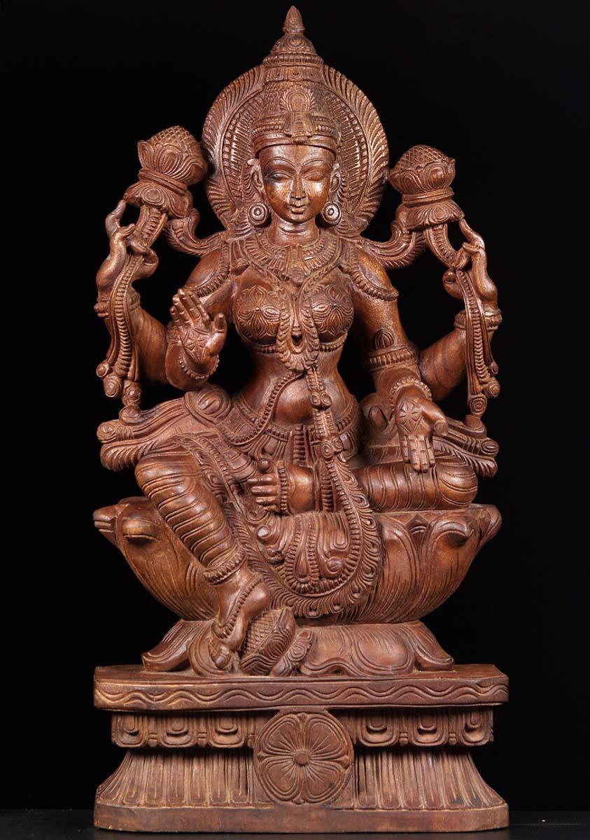 Sold seated lakshmi wood carving quot w ai hindu gods