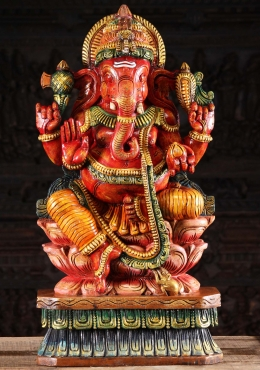 Wooden Seated Red Ganesha Statue 36