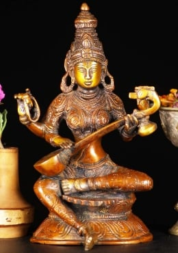 Brass Saraswati Statue Playing The Veena 8