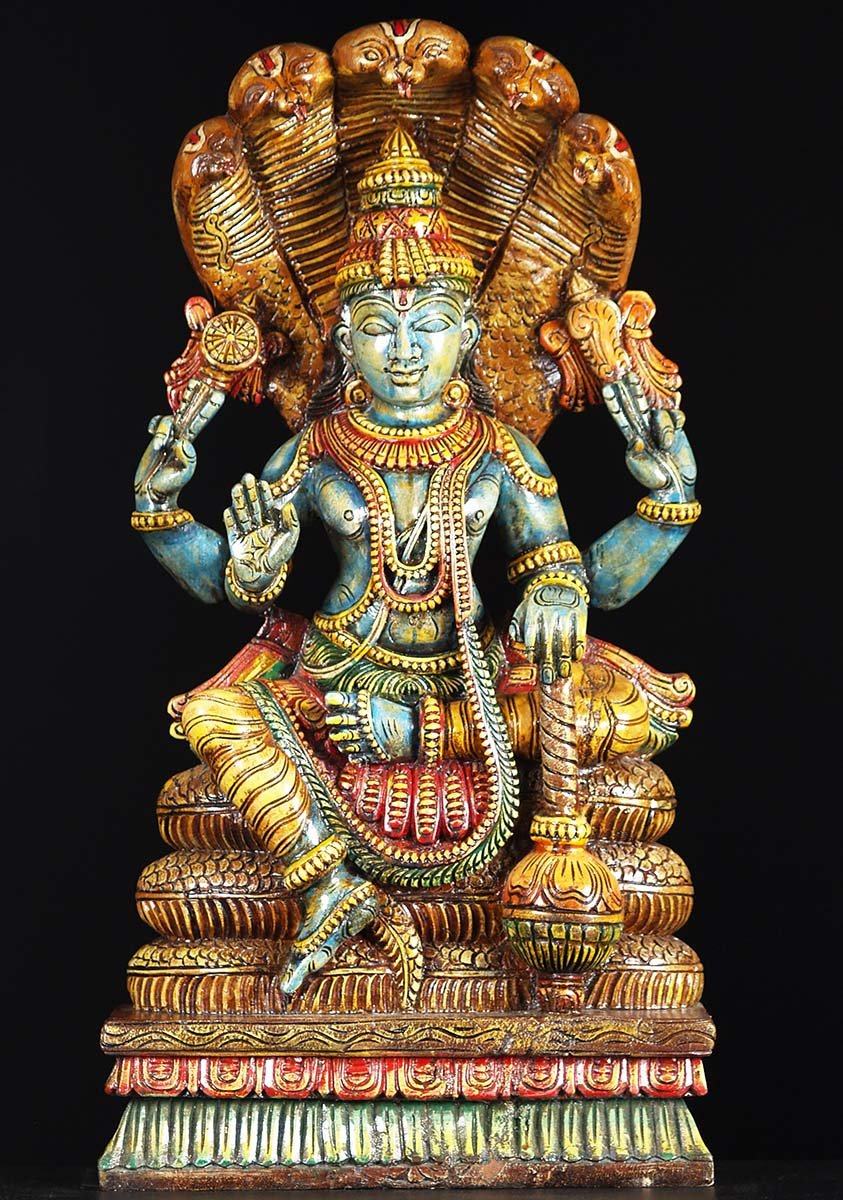 Sold Wooden Vishnu Seated On 5 Headed Serpent 30 Quot 76w19o